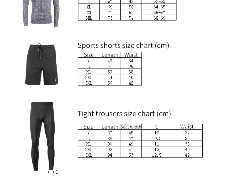 Photo of size table ROCKBROS men's training quick dry suit 5 pcs. 5 pcs male running set sweat absorbent