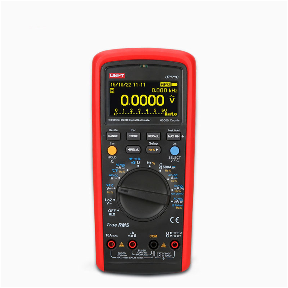 UNI-T UT171C Industrial True RMS Digital Multimeters Admittance nS Temperature AC LoZ Measure Square Wave Li-Battery USB NCV