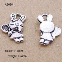 25Pcs Antique Silver Zinc Alloy Rabbit Charms Pendants For Jewelry Making Charm Handmade DIY 15*11mm