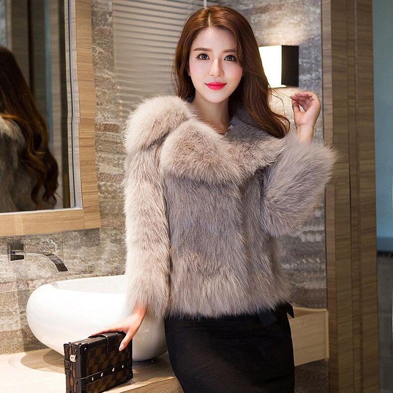 Blanc Tournent Hiver Manteaux Vers Mode Fourrure Qualité Le Réel Femmes 2018 gris rose noir Automne Bas Survêtement Vestes De Renard Haute aTg0fqng