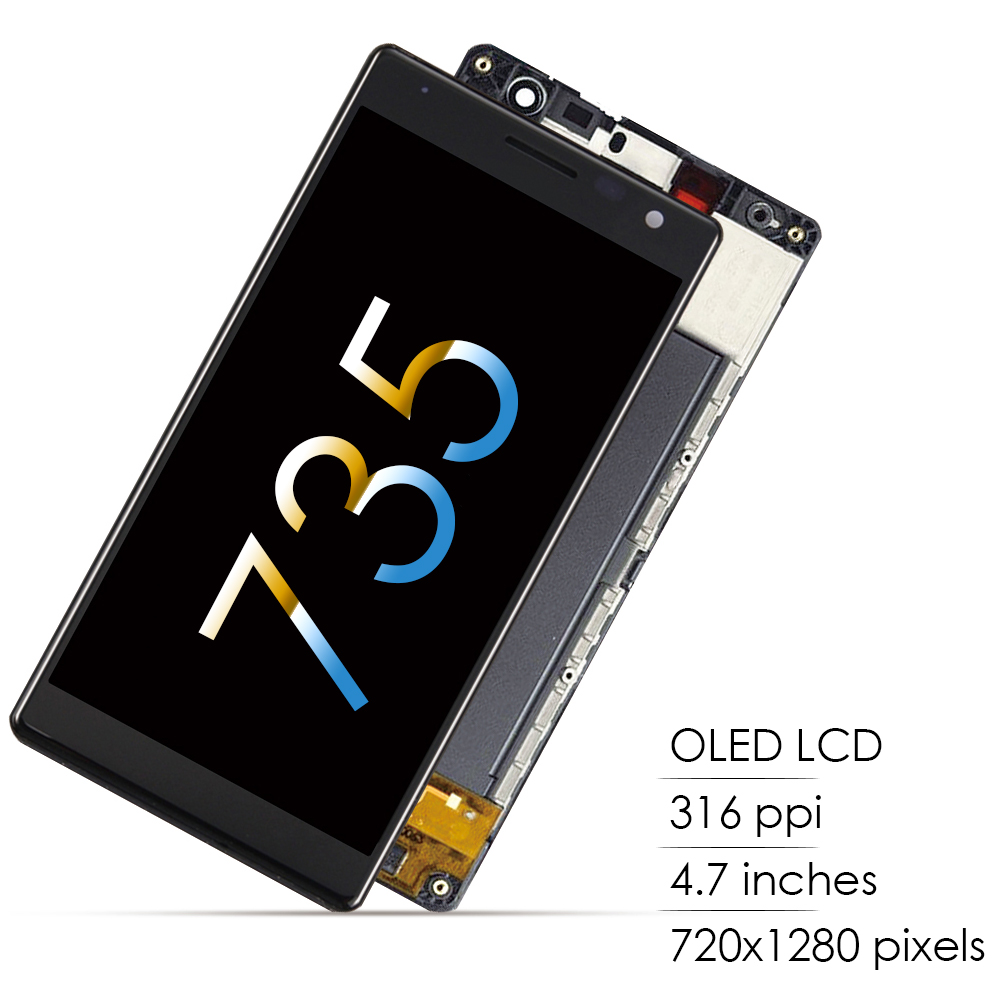AMOLED 4.7'' LCD For <font><b>NOKIA</b></font> Lumia 735 LCD Touch Screen Frame For <font><b>Nokia</b></font> Lumia 730 LCD Display Dual SIM RM-1038 Replacement image