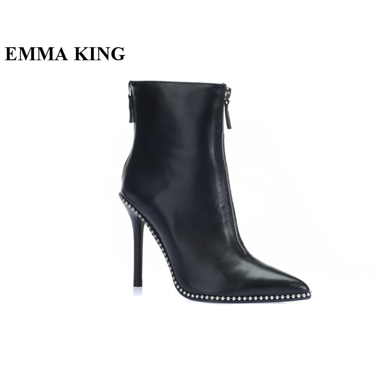 EMMA RE Concise Zapatos Mujer Donne scarpe A Punta Stivali Rivetto Studded Zipper Decor Stiletto Equitazione Punk Stivali Da Moto CavigliaEMMA RE Concise Zapatos Mujer Donne scarpe A Punta Stivali Rivetto Studded Zipper Decor Stiletto Equitazione Punk Stivali Da Moto Caviglia