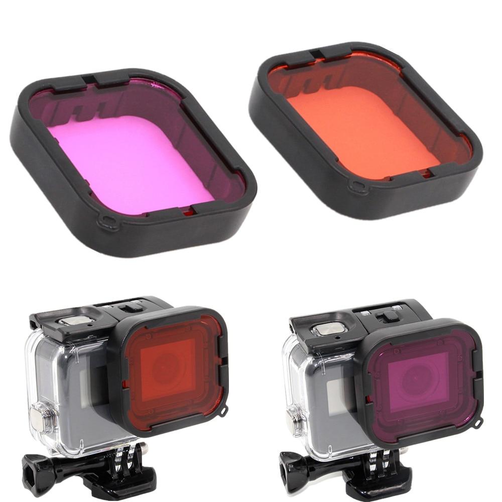2-pack (Rouge Magenta) pour GoPro Hero5 Super Costume Logement Aqua Filtre sous l'eau UV Filtre pour Gopro Accessoires