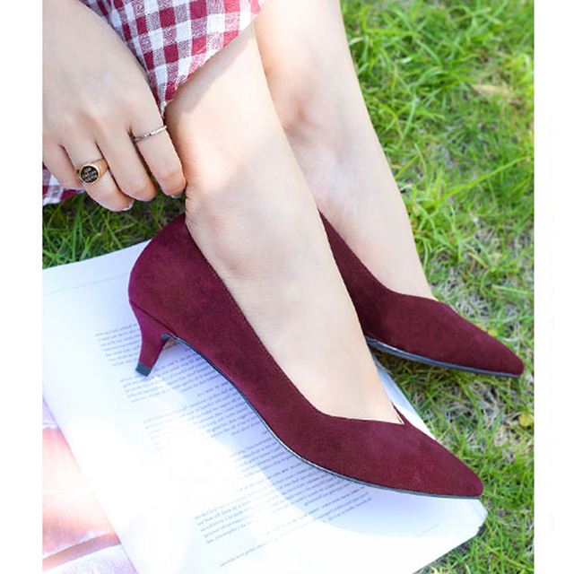 LUZHIMEI Women Shoes High Heel Pumps Office Lady Shoes Faux SuedePointed Toe Basic Plus Size zapatos mujer sapatos femininos
