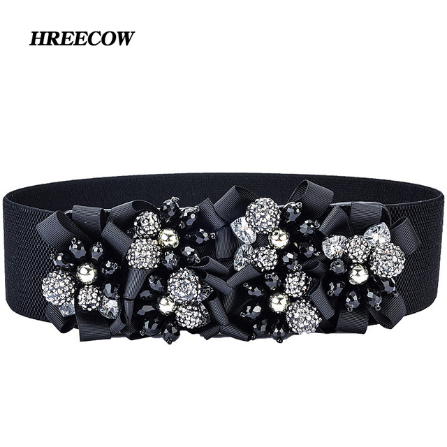 Hot New Fashion Beads Design woven elastic Artificial crystal wide belt lady fashion Cummerbunds Female belts girdle for women