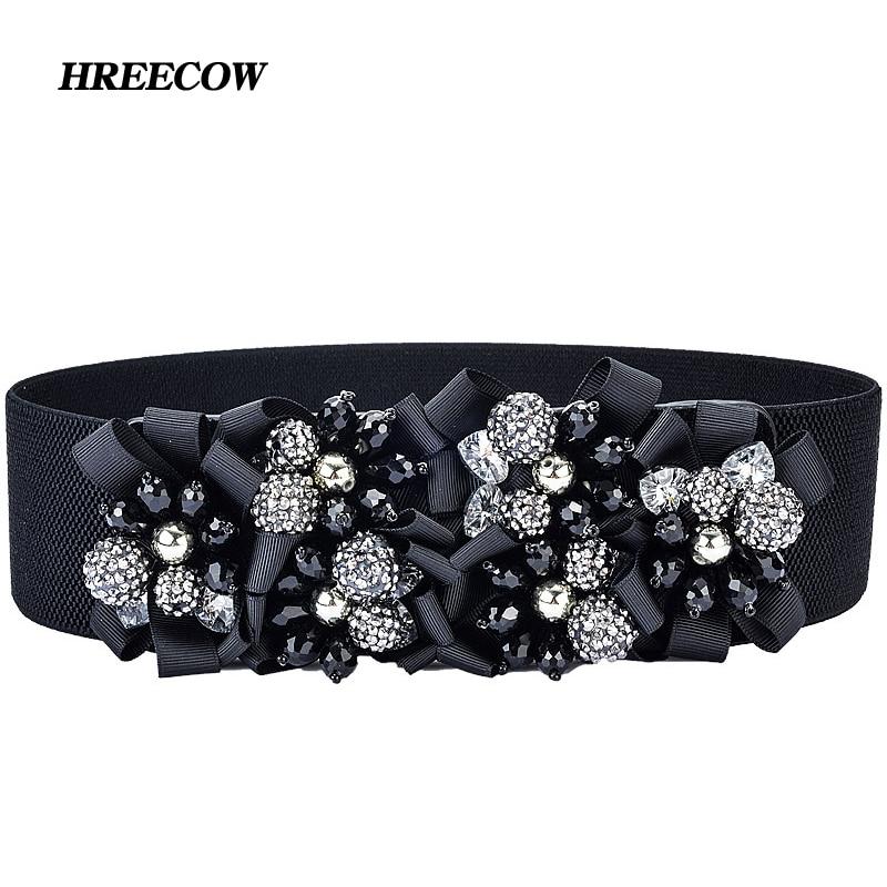 Yliquor Womens Belt,Fashion New 2019 Elastic Waist Chain Female Wild Fashion Rhinestone Pearl Belt