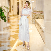 New dress female 2019 French very fairy pleated chiffon dress summer over the knee super white bud silk dress