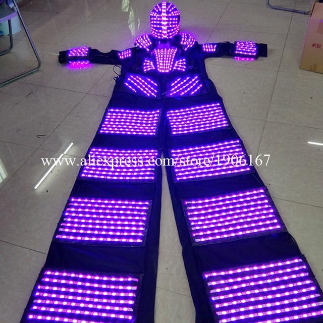 2016 New Multicolor LED Luminous Stilt Robot Costume With LED Helmet Illuminated Growing Light Kryoman Robot Suit Clothes
