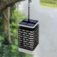 2W 100lm Modern Solar LED Flame Light Waterproof IP65 Outdoor Garden Hanging Lamp Warm Yellow Blinking Lawn Lamp 1 Set J3