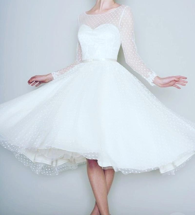 05d68b6f75 1905-es Vintage Fehér Hosszú Sleeve rövid esküvői ruha Női esküvői ...
