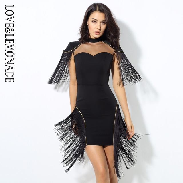 b90404dd032 Love Lemonade Black Mesh Splicing Tassel Party Dress LM0388-in ...