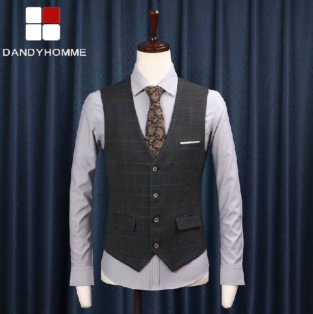 Free Shipping 2017 New Summer Autumn Wedding Groom Suits Vests Business Plaid England Style Slim Casual Blazer Vest High Quality