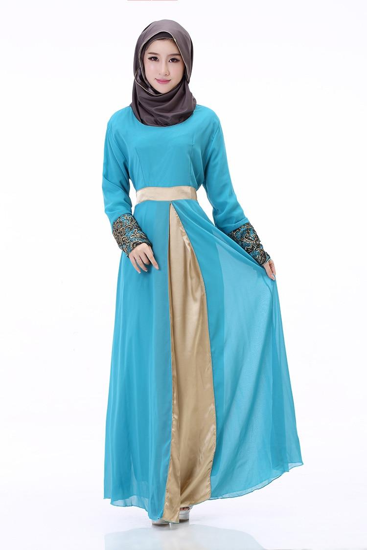 New Muslim Dress Robe Hui Muslim Stitching Chiffon Long Sleeved