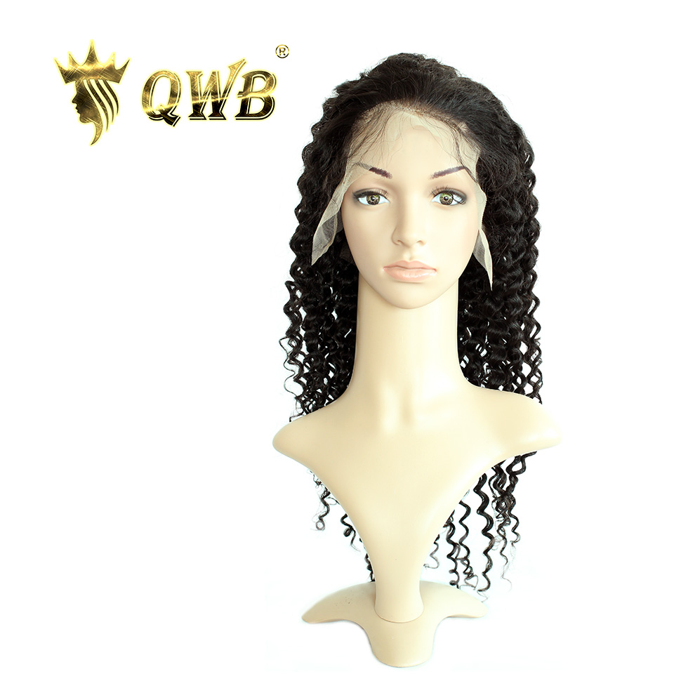 QUEEN WEAVE BEAUTY Free Shipping Deep Wave Lace Front Human Hair Wigs 12 22 100 Virgin