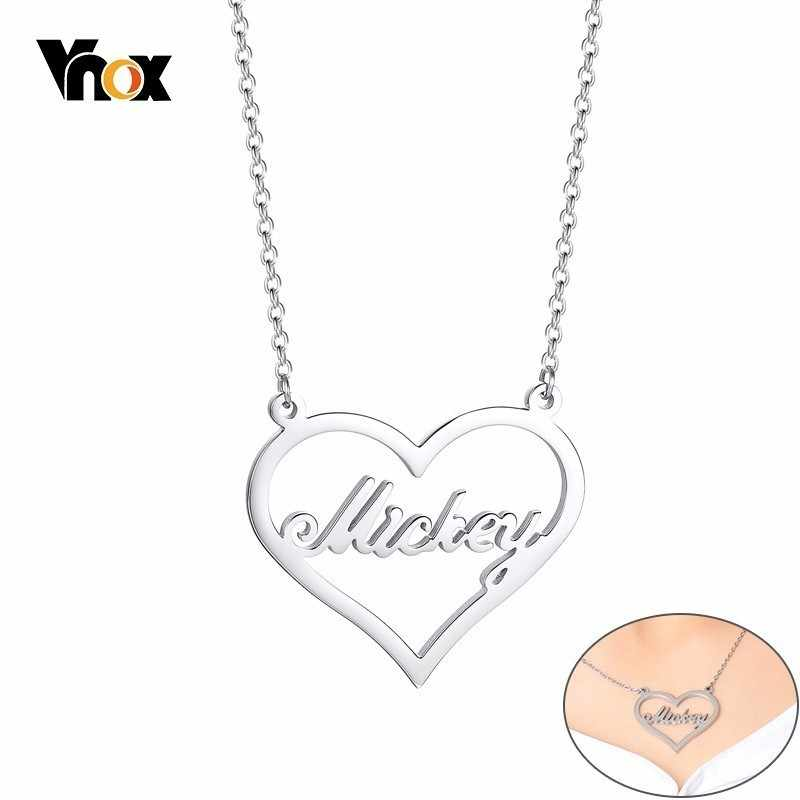 Vnox Women Custom Name Choker Necklace Personalized Jewelry Stainless Steel Love Heart Gifts for Her with Free Box