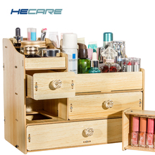 HECARE Wood Organizer for Cosmetics Drawer Cabinet Wood Color Wooden Box for Crafts Bathroom Chest of Drawers for Cosmetics New цена