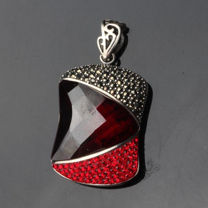 Cluci jaula colgantes collar Thai venta al por mayor joyería de Ley 925 Noble generoso Granada Shi Shiqi Drill Cut colgante de mujer - 4