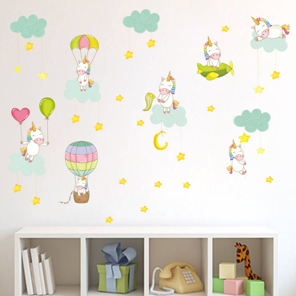 New Unicorn Clouds Hot Air Balloon Wall Sticker For Kids Rooms Art