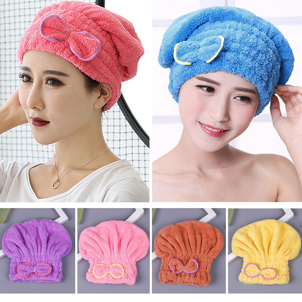 For Bath Microfibre Quick Hair Drying Hat Hair Turban Bath Spa Bowknot Wrap Towel Thicken Shower Hat Cap Head Wrap Hat