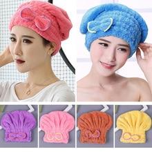 עבור אמבט Microfibre מהיר ייבוש שיער כובע שיער טורבן אמבט ספא Bowknot לעטוף מגבת לעבות מקלחת כובע כובע ראש לעטוף כובע