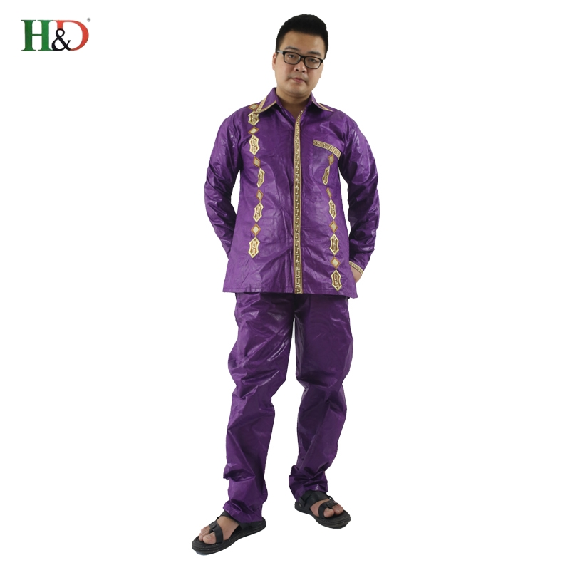 H&D African Man Kaftan print Bazin riche Dashiki Duge hlače s dugim - Nacionalna odjeća - Foto 3