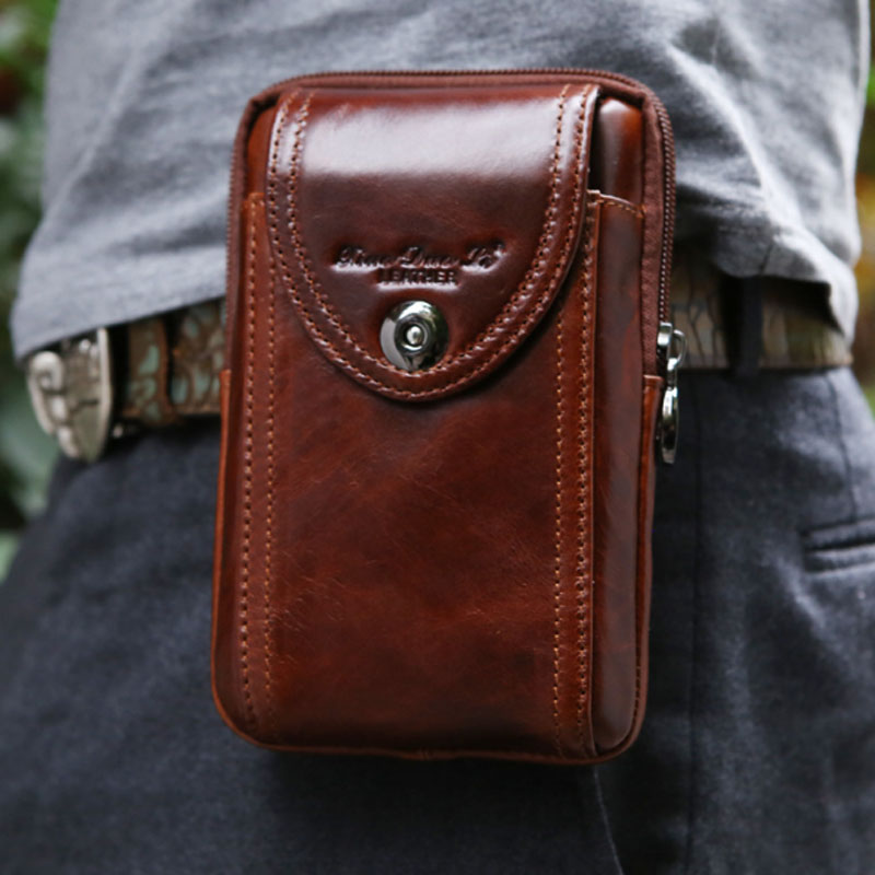 YIANG New Men's Genuine Leather Cowhide Vintage Belt Pouch Purse Fanny Pack Waist Bag For Cell Mobile/Phone Case Cover Skin