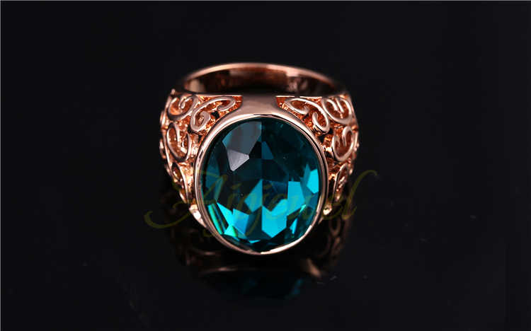 Ajojeel ขนาด 7 & 9 Rose Gold-สีขนาดใหญ่คริสตัลแหวนแฟชั่นผู้หญิงแหวนหิน
