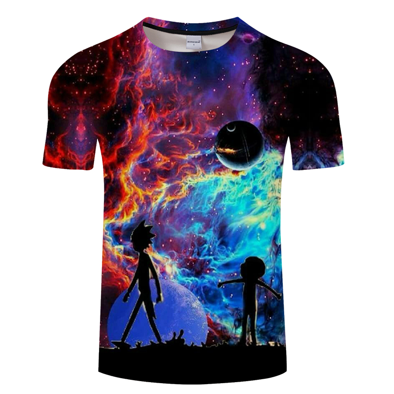 Galaxy morty&rick tshirt Men t-shirt 3D Tops&Tees Fashion Summer Short Sleeve Shirts Streetwear Cloth Dropship Asian Size S-6XL