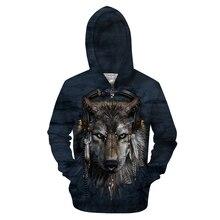 Wilk bluzy bluzy męskie bluza z kapturem na zamek 3d pulower z nadrukiem zwierząt dresy markowy płaszcz Streetwear Casual Drop Ship rozmiar ue