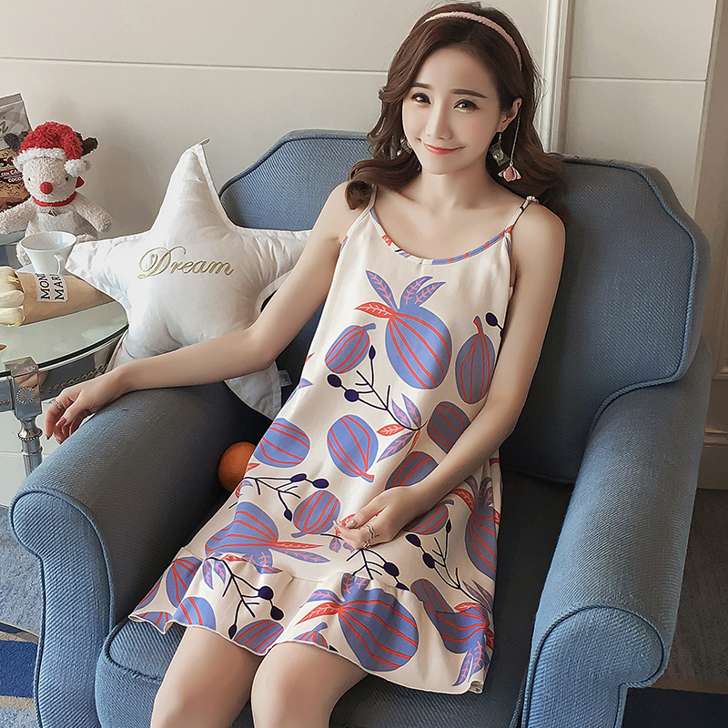 2018 New Summer Lady Long   Nightgown     Sleepshirts   Cute Lovely Cartoon Animal Sleepwear Sleeveless Cotton Women Nightdress Pijama
