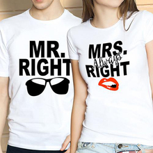 Mr Right Mrs Always Right Glasses Red Lip Couple Cotton T-Shirt