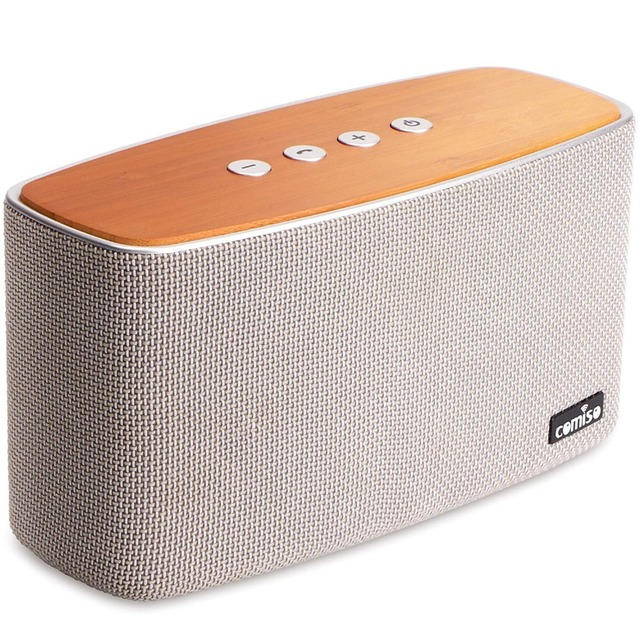COMISO 30W Bluetooth Speakers with Super Bass, Bamboo Wood Home Speaker
