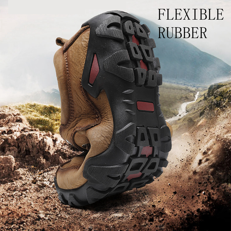 Doré Jeune homme Bottes Tactiques En Cuir Véritable Hommes Chaussures De Plein Air Sneaker Respirant Chaussures de Randonnée Montagne Homme Bottes De Chasse - 2