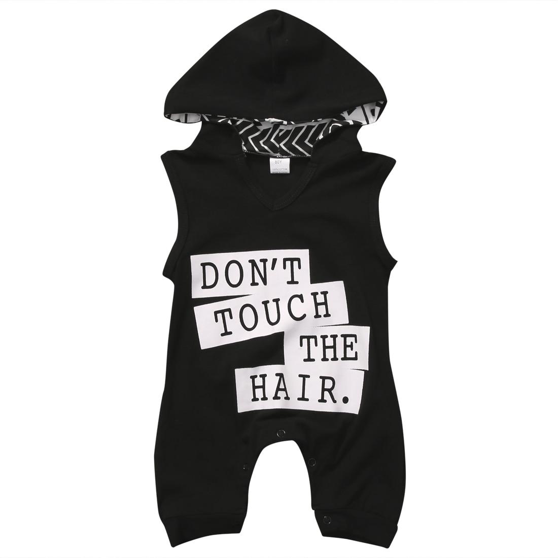 Хлопок новорожденного для маленьких мальчиков Обувь для девочек без рукавов шаровары с капюшоном Комбинезоны для малышек черный Dont touch бук... ...