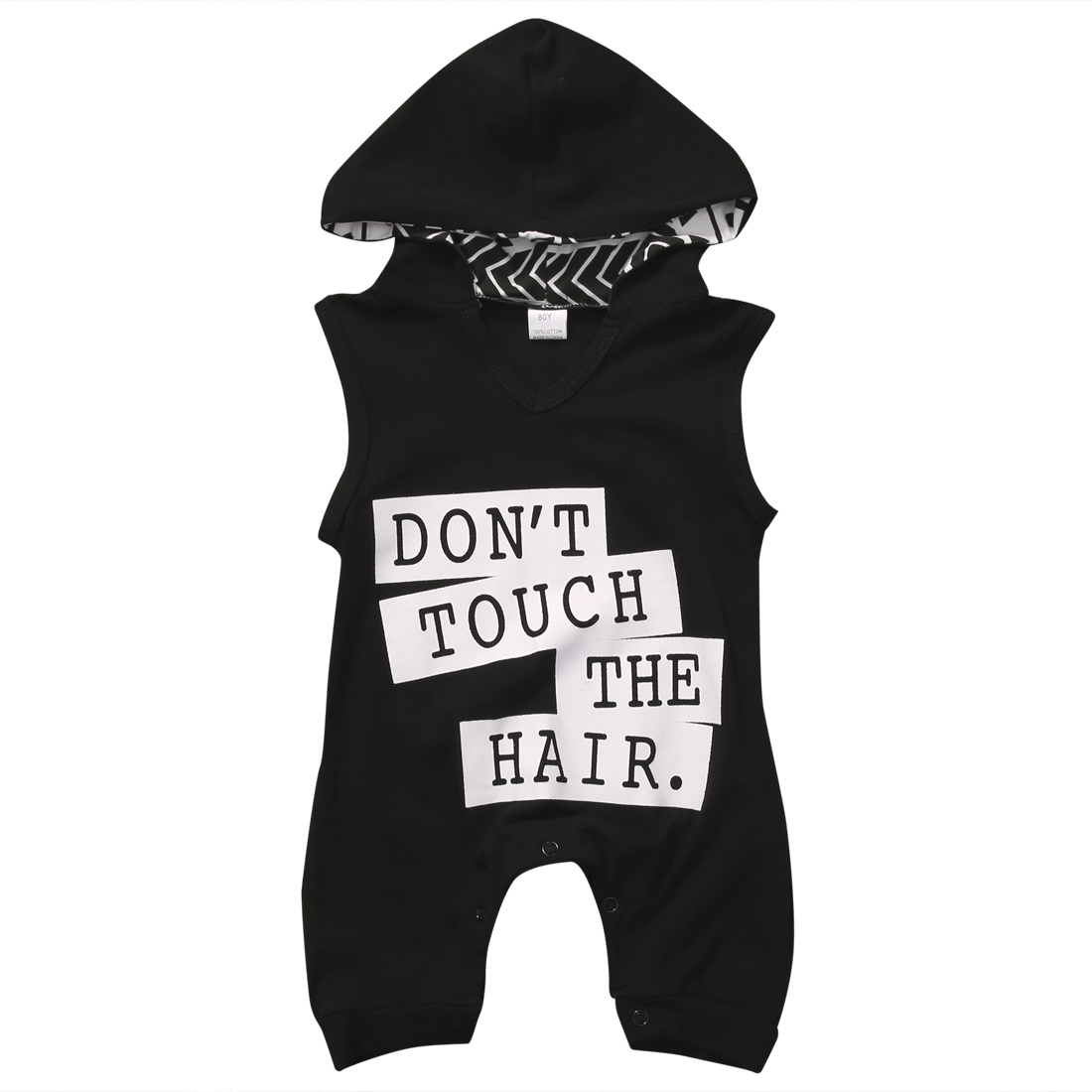 Cotton Newborn Infant Baby Boys Girls Sleeveless Harem Hooded Rompers Black Dont Touch Letters Romper Jumpsuit Clothes Outfits ...