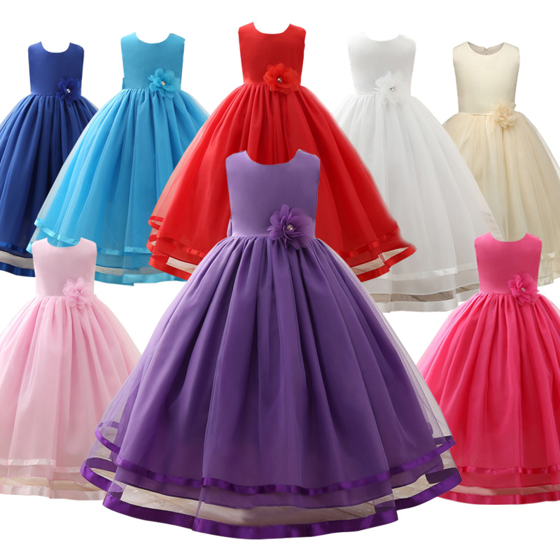 Wholesale New Arrival Summer A-Line Flower Girl Dress For Baby Girl Weddings Princess Party Dress Girl Clothes Ball Gown LP-62 4pcs new for ball uff bes m18mg noc80b s04g