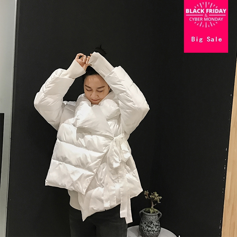 Winter fashion brand great quality Asymmetric Length down coat female pure color silver warm down parkas wq632 dropship factory