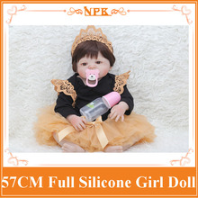 22 NPK Bebe Reborn Dolls Lifelike Full Silicone Reborn Baby Girl Boneca Wearing Nice Veil Dress