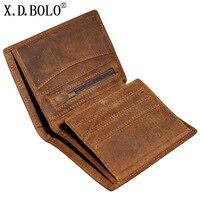 X D BOLO Crazy Horse Skin Men Wallet Vintage Handmade Genuine Leather Wallet Short Paragraph High
