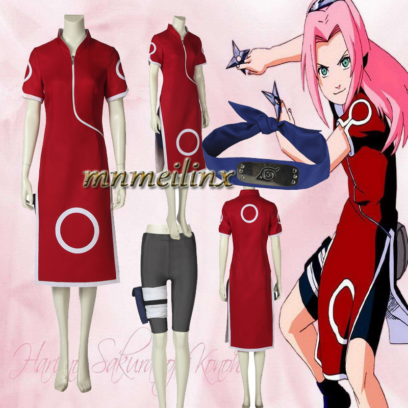 Hot New Anime Naruto Haruno Sakura Cosplay Costume Cheongsam Cartoon Character Naruto Women Costume Customized Halloween Clothes