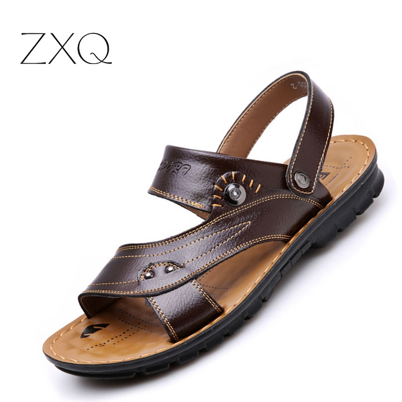 2017 summer male sandals men genuine leather shoes fashion slippers open toe shoes brand Beach shoes for man size 39-44