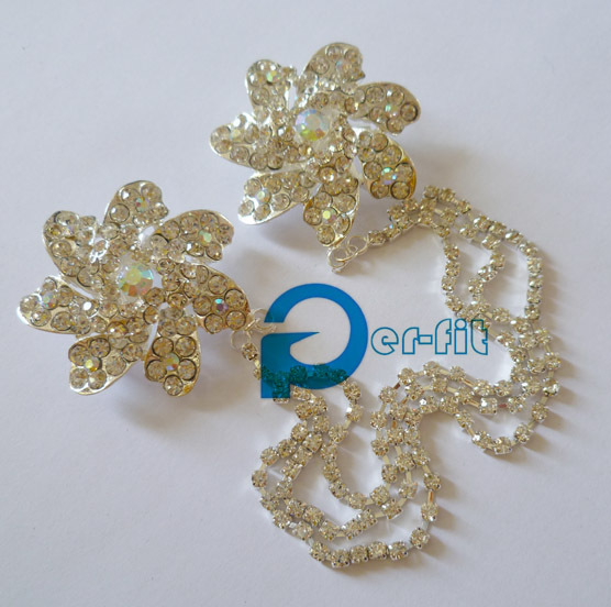 Hijab Chain Pins Double Brooch Headwrap Pins Shiny Crystal Mixed Styles  12pcs/lot Free Ship