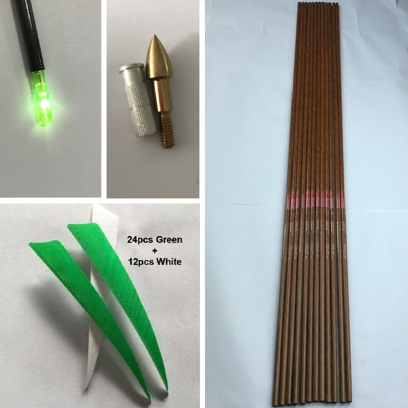 12Pcs spine 600 32'' wood skin Pure Carbon Arrow Shafts, 12pcs Inserts, 12pcs Point, 36Pcs 5'' Turkey Vanes, 12pcs LED Nocks DIY цена 2017