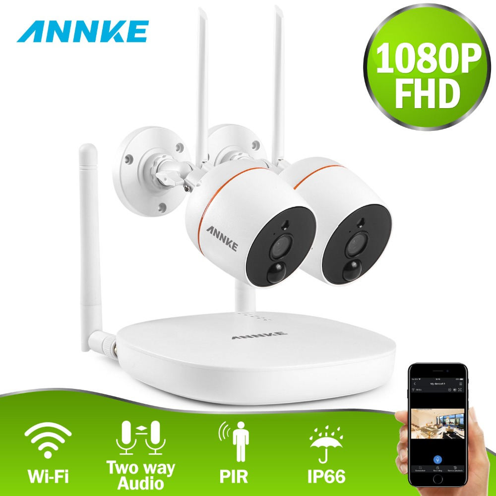 ANNKE 1080P Wifi Mini Video Audio Outdoor IP Camera NVR Kit  Wi-fi 2pcs 2MP IP Camera Two-way Audio PIR Home Security CCTV Kit