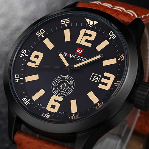 NUEVO Diseñador Naviforce Hombres Relojes de Pulsera de Cuero Reloj de Pulsera Reloj de Cuarzo Para Hombre de Primeras Marcas de Lujo Reloj Del Deporte Del Reloj Con Calendario