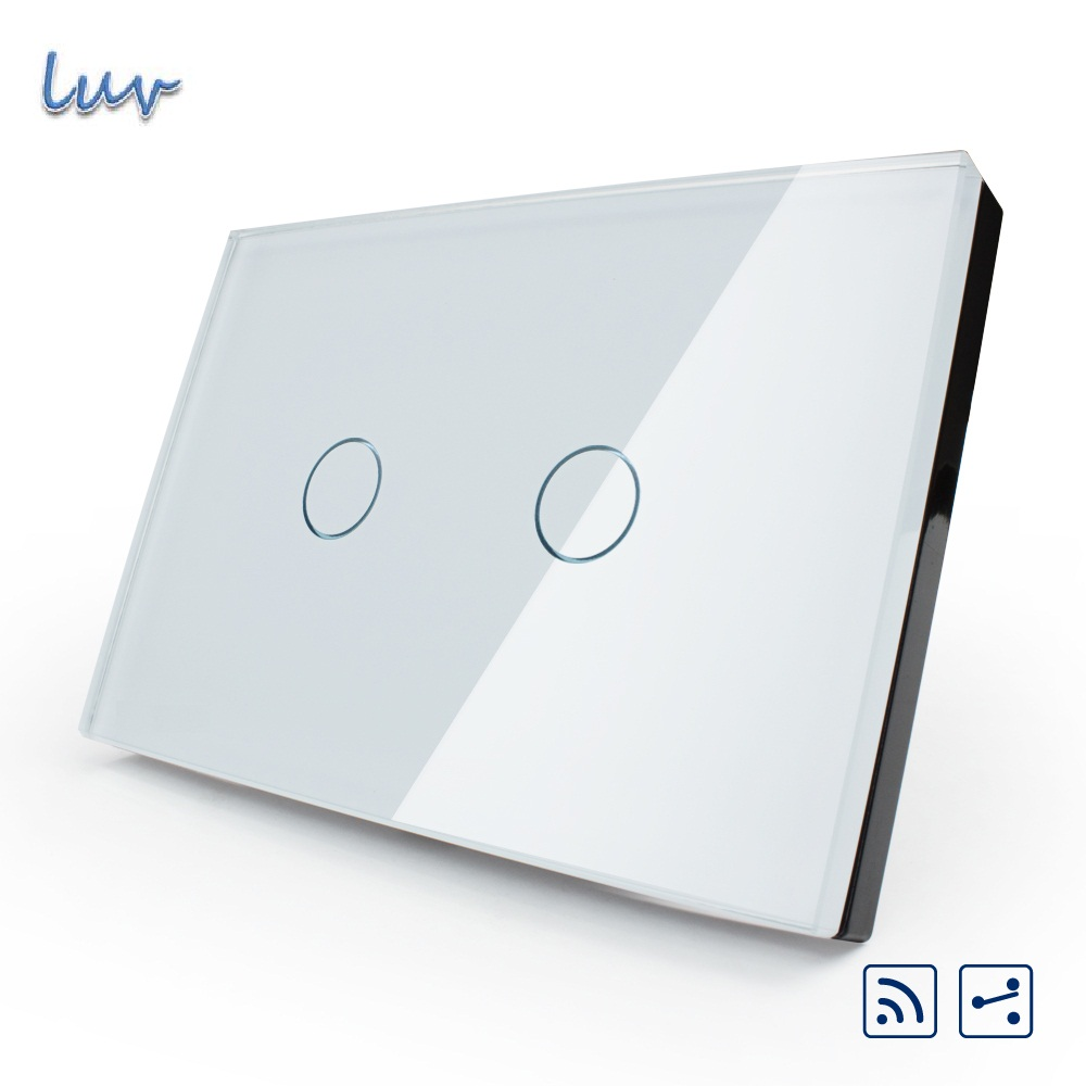 Manufacture US/AU,VL-C302SR-81 remote switch, White Crystal Glass Panel, 2-Way Wireless Remote Home Wall Light Switch smart home us au wall touch switch white crystal glass panel 1 gang 1 way power light wall touch switch used for led waterproof