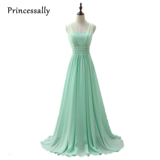 Mint Green Bridesmaid Dress Royal Blue Pink Party Dresses Chiffon Floor  Length Vestido De Festa Cheap