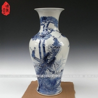 Ceramics blue and white porcelain vase antique green vase fish tail bottle golden pheasant large floor vase
