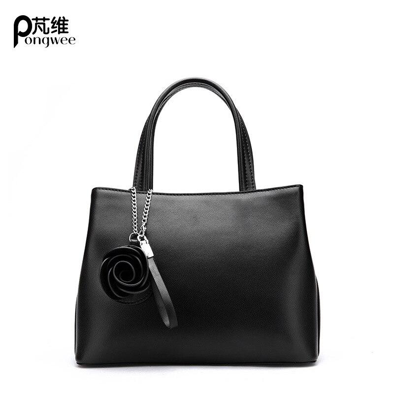 PONGWEE 2018 nowy nabytek mody kobiet torebki torby wysokiej jakości prawdziwej skóry na co dzień kobiet torba BrideLady torba o dużej pojemności w Torby z uchwytem od Bagaże i torby na  Grupa 1