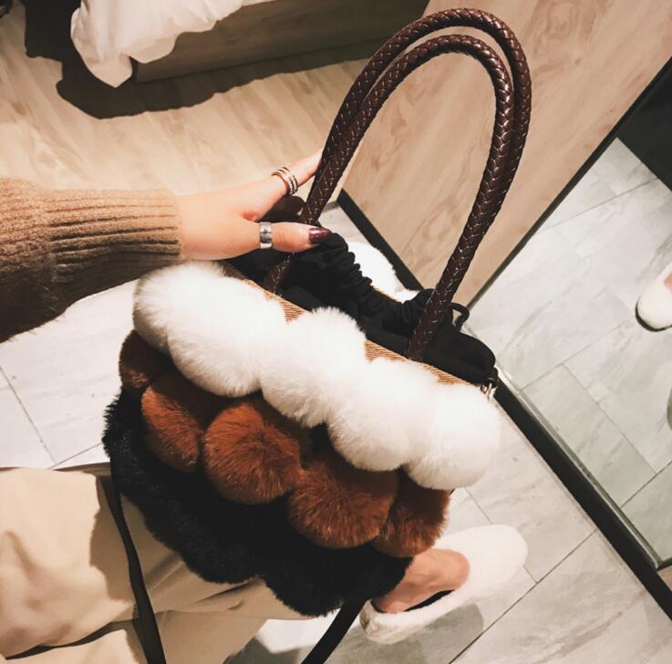 Winter Plush Fur Fashion Handbag Casual Tote Bag Women Crossbody Bag Female Shoulderbag #157 1